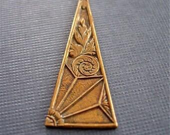 vintaj brass deco motif, vintaj deco motif pendant, brass pendant, 38 x 14mm pendant one piece