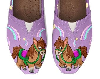 Custom Girls Shoes, Toms, Toms-Style Shoes, Rainbows, Ponies, Purple, Big Girl