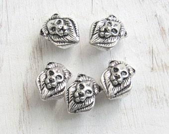 Lion head beads, set of 5, lion charms, lion beads, silver lion, african lion beads, animal beads, large hole beads, cat head, european bead
