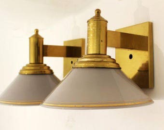 Mid Century Modern Pair of Brass & Glass Hanging Wall Sconces