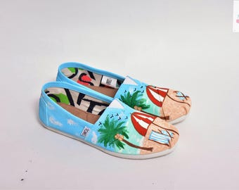 Beach Vacation Painted TOMS shoes