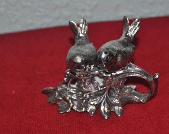 Vintage Metal Love Bird Salt and Pepper Shakers