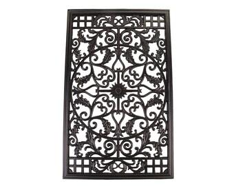 "Rectangle Decorative Gate Fence Insert ACW61 - Cast Aluminium Black - 24"" x 15"""