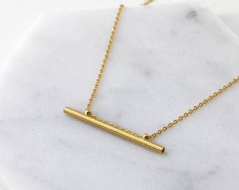 Bar Necklace, Dainty 14K Gold Necklace, Gift For Her, Layering Necklace, Gold Necklace, Delicate Gold Necklace, Gold Bar Necklace, N385-G