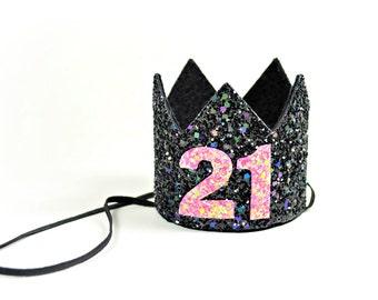 21st Birthday Hat || Twenty One Birthday || Adult Birthday Crown || Adult Party Hat || Black Birthday Crown || Add Any Number