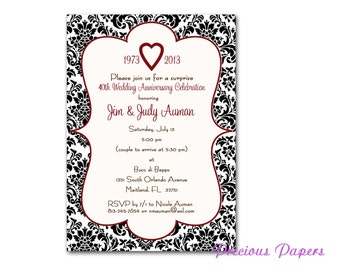 Black and whtie damask invitations 40th anniversary party Invitations Printable Download within 24 hours