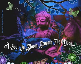 Beneath The Moon Buddha (blue) Canvas 8x10