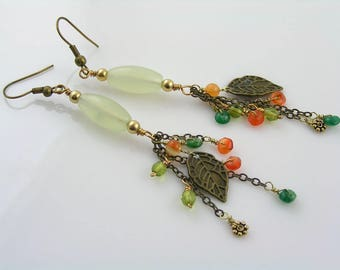 Cluster Earrings, Gemstone Jewelry, Gem Earrings with Carnelian, Serpentine and Leaf Earrings, Wire Wrapped Jewelry, Bohemian Earrings, E442