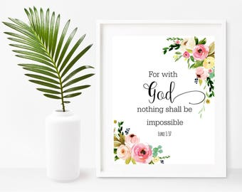 Bible Verse Printable Art, For With God Nothing Shall Be Impossible, Bible Quote,  Scripture Printable, Christian Wall Art, Wall Decor