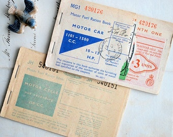 Vintage Motor Car Cycle Fuel Ration Book, British Fuel Coupons
