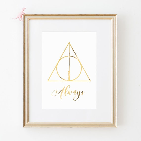 Harry Potter Wall Art Deathly Hallows Gold Foil Print Always