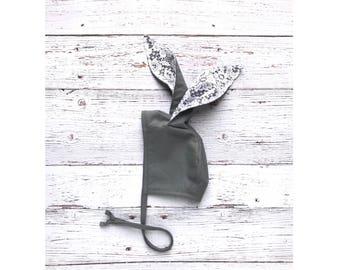 gray bunny bonnet // easter bonnet // baby bonnet // modern baby bonnet // rabbit bonnet // rabbit hat bonnet // spring bonnet
