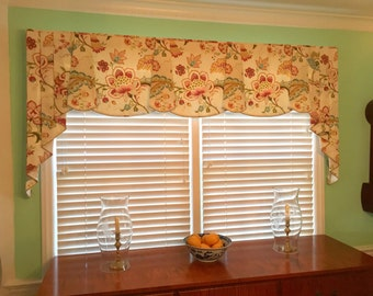 "Custom Valance PEYTON Hidden Rod Pocket® Valance, pleated jabots fits 45""- 64"" window,Window treatment made using your fabrics, my lining"