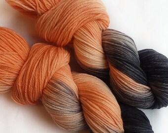 Hand dyed yarn, Finch, 100% super wash polwarth wool, dk weight, orange yarn, black yarn