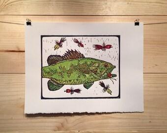 Green Lake Popper reduction linocut