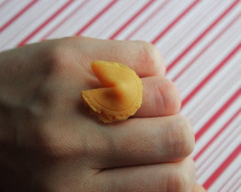 fortune cookie ring kawaii polymer clay charms miniature food jewelry polymer clay food ring chinese food chinese ring chinese jewelry