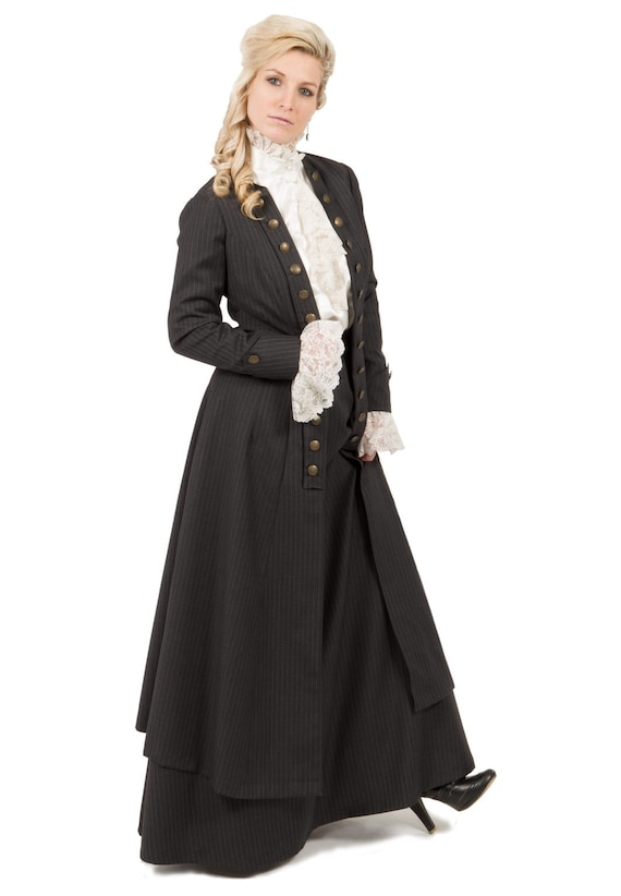 Steampunk Dresses | Women & Girl Costumes Eastham Edwardian Pinstripe Long Jacket and Skirt $210.00 AT vintagedancer.com