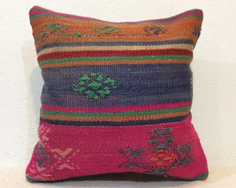 Pink pillow cover,16 x 16 Pink pillow,pink,blue,cushion,pillow,vintage style pillow,handcraft,handwoven kilim pillow