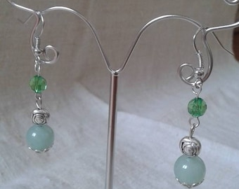 """green pearls duo"" earrings"
