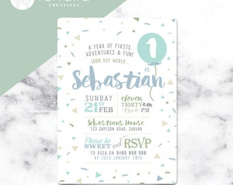 Boys Fun 1st Birthday Invitation// 120 x 180mm // Change to any Age