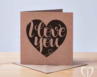 Recycled I love you heart card