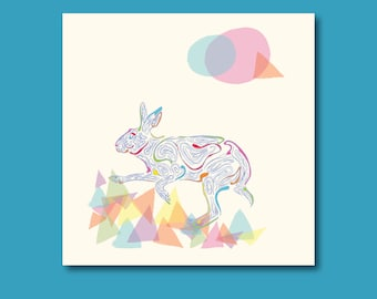 Arty Hare Birthday Card
