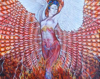 "Give Me Myself Again Phoenix Interdimensional Visionary Art poster print 11"" x 15"" from original painting by Krisztina Lazar"