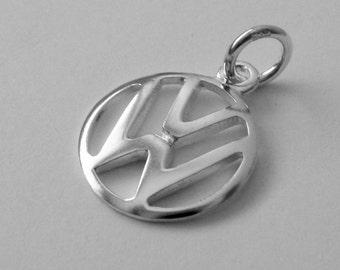 15 mm Genuine Solid 925 STERLING SILVER 3D Volkswagen VW Sign Logo Car charm/pendant