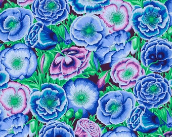 2 yards Poppy Garden in blue from the 2018 Kaffe Fassett collection