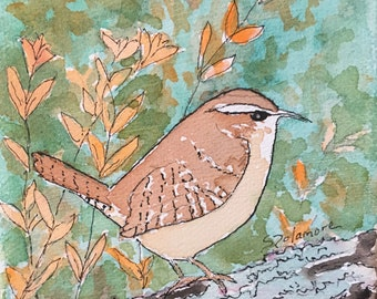 "Wren Watercolor Painting 4""x4"" Block Canvas Brown Bird Nature Art Small Decor Wall Tiny Knicknack"