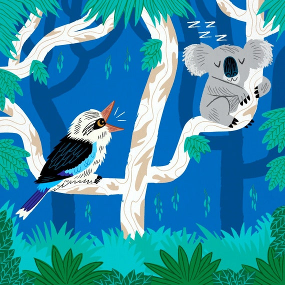 The Koala and the Kookaburra - children's wall art print - animal art print - iOTA iLLUSTRATiON