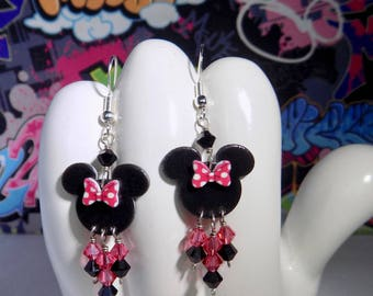 Minnie Mouse Pink Polka Dot Bow Dangle Earrings