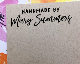 Custom Handmade by Stamp, Personalized Etsy Shop Stamp, Business Name Stamp, Etsy Sellers Stamp, Wooden Stamp, Eco Friendly Rubber Stamp