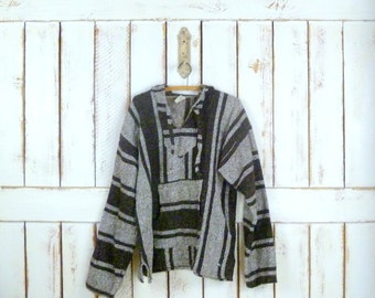 Vintage Mexican serape striped poncho sweater top/striped blanket sweater/brown woven knit hoodie