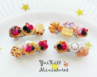 Small Hair Barrette/ Food Barrette/ Food Hair Accessories/ Food Jewelry/ Miniature Food/ Berries-Cookies-Waffle-Pastries/ Baby Girl Barrette