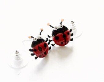 Earrings ladybugs, ear studs, red earrings, dangle earrings with polka dots, animals good God, jewelry