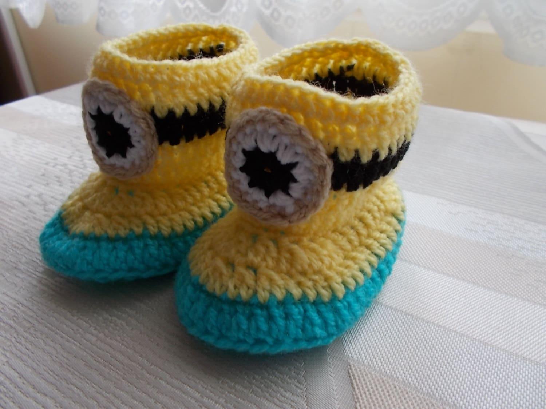 Gehäkelte Babyschuhe häkeln Minion Baby Baby Hausschuhe