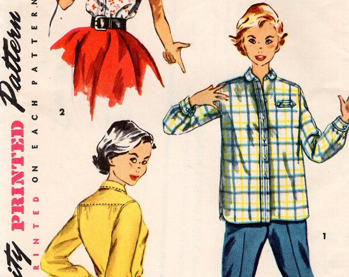 FREE US SHIP Vintage Retro 1950's 50's Sewing Pattern Simplicity 4811 Girls Shirt Blouse button short sleeve  Uncut size 10 Breast 28 Uncut