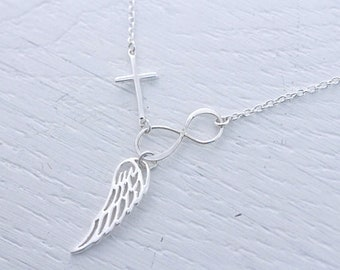 Angel Wing necklace, Cross Infinity And Angel wing. Wing Necklace, Infinity necklace, Cross Necklace.