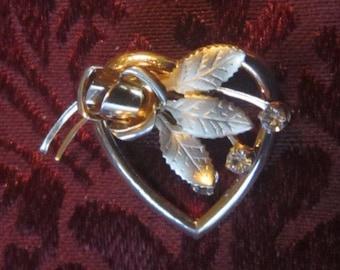 Vintage Heart Shape Brooch & Rhinestones