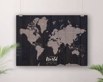 Rustic World Map Push Pin, Customisable Pin Board Map, Paper, Card or Foam Board, Travel map, Wood style, Places Been There Personalised Map