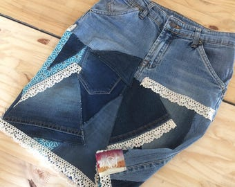 Skirt short hodge podge of Jean & lace