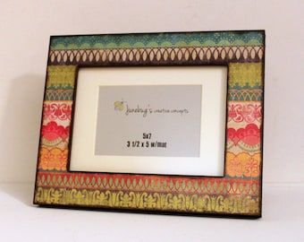 5x7 Bright Colorful Lace Photo Frame