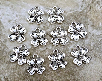 10 Pewter Dogwood Flower Charms - Free Shipping in the US - (0826)