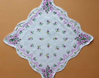 Vintage Handkerchief with Printed Floral Design
