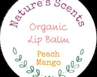 All Natural Peach Mango Lip Balm, Organic Lip Balm