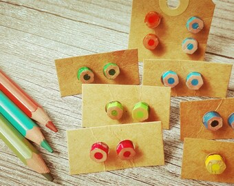 Button earrings with colored pencils various colors