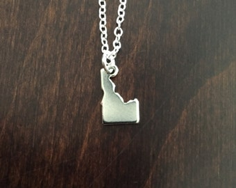 Idaho Necklace, Idaho, silver Idaho necklace, Idaho jewelry, Idaho pendant, state necklace, state jewelry, necklace, silver necklace
