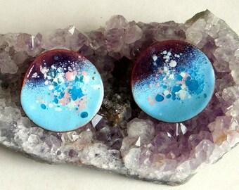 Vintage Mid Century Modern Enamel-on-Copper Big Wavy Disc Earrings - Copper Enamel Post Pierced Earrings - Turquoise, White, Pink Speckles