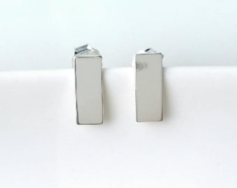 925/000 - rectangle, line, bar - earrings minimalist - minimalism earrings 925 silver sterling silver earrings